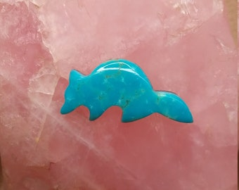 Small Blue Sonora Turquoise Raccoon Cabochon/ backed