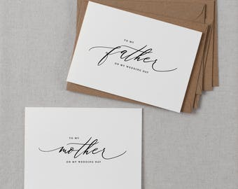 Wedding Card To My Mother + Father Wedding Day, To My Parents Wedding Card, To My Mom, To My Dad, Parents Wedding Thank You Card 2 Cards, K6