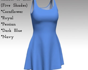 Blue Dress, Solid Blue Dress, Flare Dress, Skater Dress, Fit and Flare Dress, Fitted Dress, Bodycon Dress, Reversible Dress, Pull On Dress