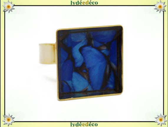 Butterfly ring in 24 carat 24 K gold plated brass square resin Midnight blue gray black 17mm adjustable
