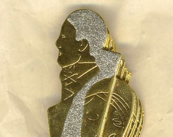 Vintage brooch, brooch, gold and silver, characters, couple, graphic brooch, contemporary art