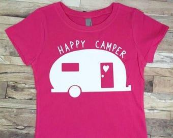 Happy Camper - Baby Bodysuit - Kid Shirt - Camping Theme - Vintage Camper