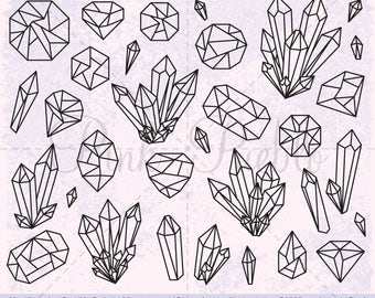 Crystal Clipart, Crystal Clip Art, Gemstone Clipart, Gemstone Clip Art, Gem Clipart Clip Art, Digital Stamps - Commercial and Personal Use