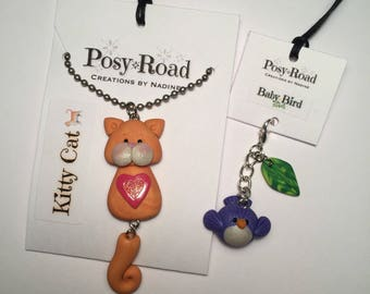 Orange Kitty Cat Necklace & Baby Bird Charm