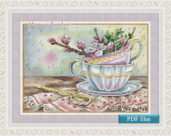 "Cross Stitch Pattern ""My spring"" DMC Cross Stitch Chart Needlepoint Pattern Embroidery Chart Printable PDF Instant Download"