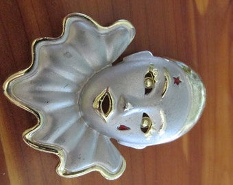 Classical SAD CLOWN in Silver and Gold Tone Unmarked 1970's - HOLLYWOOD Set Lot Auction