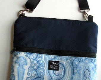 White Blue Paisley Fabric iPad Kindle DX Fire Nook Color E Reader Passport Travel Messenger Bag Sling