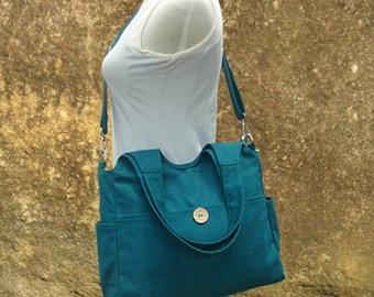 Teal green canvas tote bag feminist messenger bag women shoulder bag crossbody bag satchel diaper bag school bag gift for her