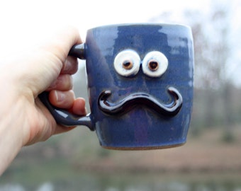 His Handlebar Mustache Mug. Funny Coffee Cups for Guys. Winter Ice Blue. Ironic Beer Stein.
