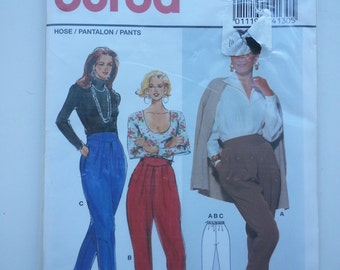 90s pants / Pleated pants /tapered legs/ 1990s vintage Burda sewing patterns, Hip 34 36 38 40 42 44, Size 10 12 14 16 18 20, Burda 4130
