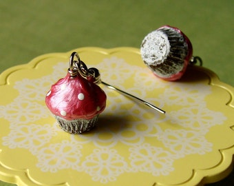 Miniature Cupcake Earrings -  Dangly Cupcake Earrings - Miniature Food Jewelry - Mini Cupcakes - Pink Frosted Cupcakes with White Sprinkles