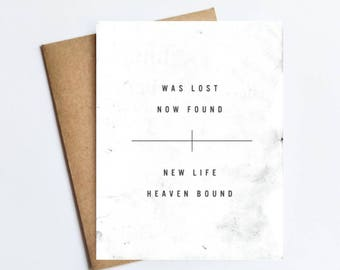 Was Lost Now Found - NOTECARD - FREE SHIPPING!