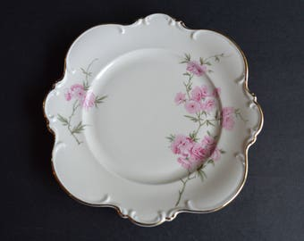 Vintage Pink Floral HUTSCHENREUTHER GELB Medium Sized Scalloped Edge Plate Bavaria Germany Perfect Cookie or Cabinet Plate