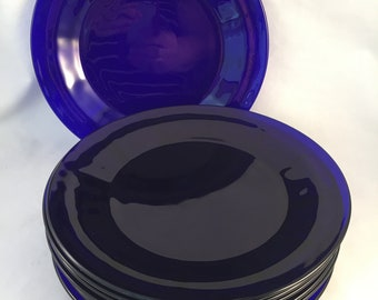 """Set of 8 Cobalt Blue 9-1/2"""" Glass Dinner Plates by Libbey Duratuff, Made in USA"""