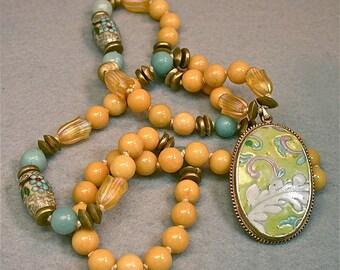 Vintage Yellow Jade Bead Knotted Necklace, Antique Chinese Qing Porcelain Pendant, Vintage Chinese Cloisonne, Aqua Blue Amazonite-Ningmeng