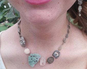 HOPE sterling antique  vintage assemblage necklace