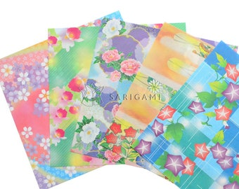 Thin origami papers with pastel shades japanese prints, 15 cm. Scrapbooking, origami, decoration, wedding, birthday cards
