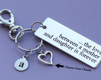 Personalized Mother Key Chain The Love Between a Mother and a Daughter is Forever Stainless Steel Customized with Your Charm & Initial -K389