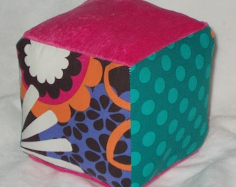 Flower Shower Fabric and Minky Block Rattle Toy - SALE