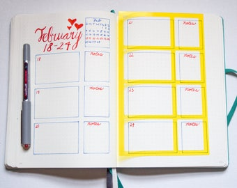 2 Bullet Journal Stencils - Weekly Spread, Monthly Spread. Quick and Easy! Planner, Gift for her, Organized