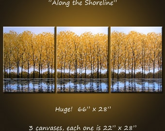 "Extra Large Wall Art Original Painting Landscape Golden Yellow Trees Autumn  - 66"" x 28"", ready to hang, ""Along the Shoreline"""