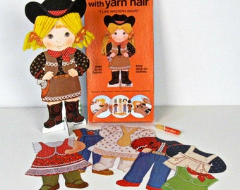 vintage Jennifer Western paper doll with yarn hair