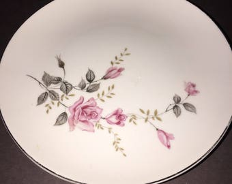 Vintage Rose Glow castlecourt  luncheon plate set 4, 1970s bridal collectible fine china