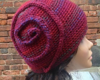 Crochet cloche, flapper hat, burgundy hat, spiral cloche, vintage style hat, crochet formal hat, ear warmer, wool hat