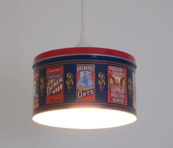 Pendant light - plug in or install - shallow Quaker Oats tin