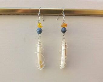 Dangle earrings, mother's day, buckles steel, amber earrings, wedding, ceremony, birthday, mother of pearl earrings dangle earrings
