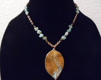 Copper and Aventurine Necklace with Leaf Pendant