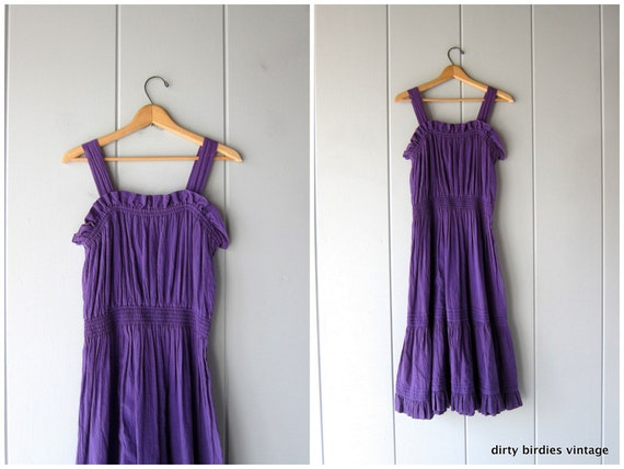 80s Purple Sun Dress Simple Cotton Sundress Boho Gauze Summer Dress Simple Vintage Natural Textured Cotton Sun Dress Womens Large