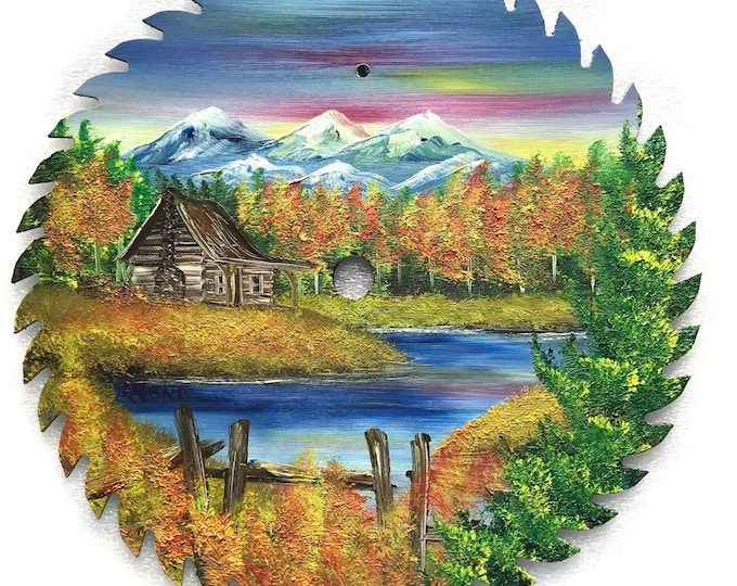 Hand Painted Saw Blade Mountain Fall Cabin and Fence