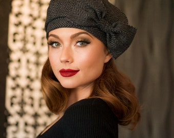 Beret Hat Bow, Grey & Black Chevron Striped Wool Beret, French Beret, Winter Hat, Pin Up Girl Hat, Vintage Look Beret Hat