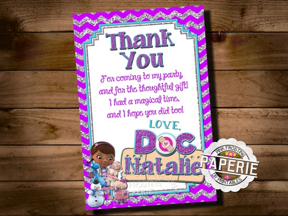 Doc mcstuffins birthday thank you card doc mcstuffins party like this item solutioingenieria Gallery