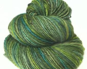 Handspun Yarn handdyed Merino wool yak and silk, hand spun singles yarn
