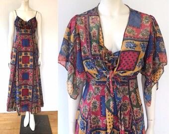 Vintage 70s peasant dress, provence handkerchief print, dress and jacket set
