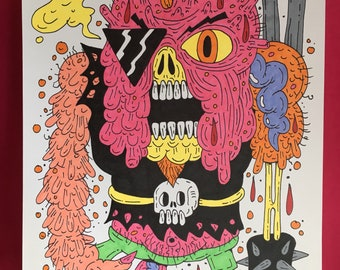 "Cyborg Monster Marker Drawing 8.5"" x 11"" Original"