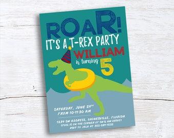 Roar! Dinosaur Birthday Invitation–Dino Party–T Rex Pool Party Birthday Invitation–Printable Teal–Blue–Yellow–Red–Dinosaur in Party Hat
