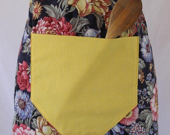 Dark Floral Apron with Yellow Pocket