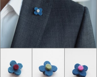 Blue wool floral lapel pin for him // mens flower lapel pin // wedding boutonniere // Mens Lapel Flower // Men's Lapel Pin // Gifts for Men