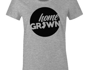 Home State T Shirt - Home Grown in New Jersey - American Apparel Womens Poly Cotton T-Shirt - Item 1498