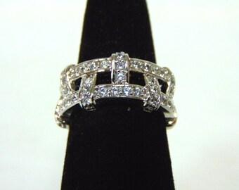 Womens Sterling Silver .925 Ring w/ Diamond Cut CZ Stones 7.7g #E2665