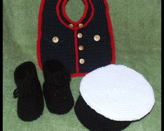 Marine Bib, Booties and Cap Crochet Patterns PDF- INSTANT DOWNLOAD