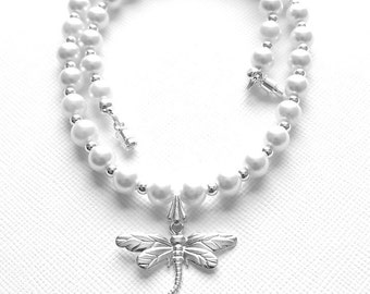 Girls Necklace, Dragonfly, Dragon Fly, Pearl Necklace, Dragonfly Necklace, Pendant,Teen Jewelry, Tween Jewelry