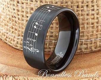 Music Note Tungsten Wedding Band Music Note Ring Wedding Song Tungsten Ring Tungsten Band Music Sheet Laser Engraved Ring 9mm Comfort Fit