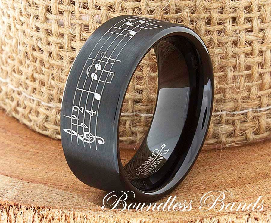 Music Note Tungsten Wedding Band Ring Song