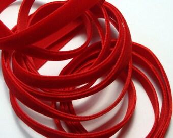 """3/8"""" Red Velvet Ribbon - 5 yards"""