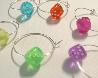 Whimsical Dice Wine Charms Set of 6