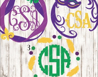 Mardi Gras Monogram Decals